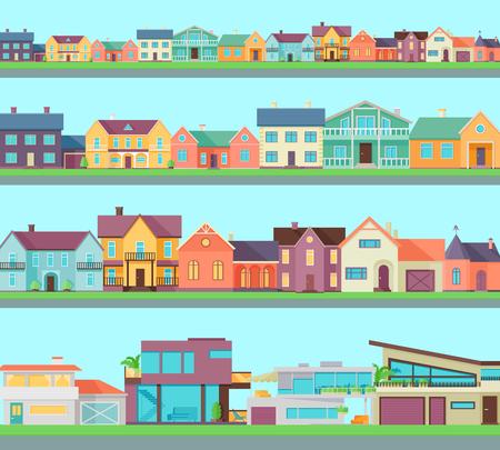 Große Reihe von Häusern, Gebäuden, Architektur Variationen. Cottage und Landhäuser. Land oder Stadt-Architektur. Ein Teil der Serie von modernen Gebäuden in flachen Stil. Immobilien-Konzept. Vektor