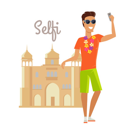 illustration journey: Summer vacation in India concept. Journey in exotic countries vector illustration. Selfie on the background of famous historical monuments. Young man taking pictume near asian building. Flat Design. Illustration