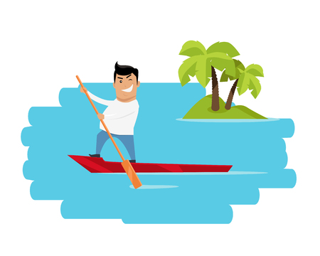 civilization: Leisure in tropics vector illustration. Flat design. Summer vacation in exotic countries concept for ad, web design. Escape from civilization. Man on boat sailing in ocean with island on background.