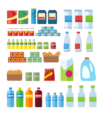 canned goods: Big set of store products in plastic and aluminum cans. Canned goods and supplies, drinks and dairy products. Retail store icon set. Isolated object on white background. Vector illustration