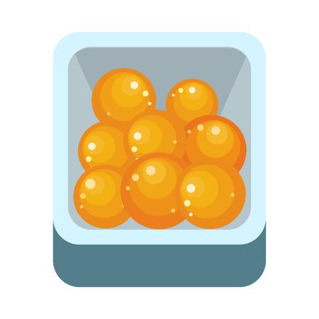 plastic box: Pile of ripe orange in plastic box. Juicy fresh orange. Tropical fruit. Orange fruit icon. Healthy food element. Orange icon in flat. Isolated vector illustration on white background.