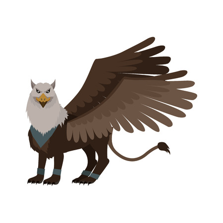 lion with wings: Mythical monsters griffin. Legendary creature with the body, tail, and back legs of a lion, head and wings of an eagle. Game object in flat design isolated on white background. Vector illustration. Illustration