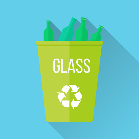 recycling symbol: Green recycle garbage bin with glass. Reuse or reduce symbol. Plastic recycle trash can. Trash can icon in flat. Waste recycling. Environmental protection. Vector illustration.
