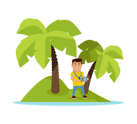 Traveling to exotic tropical counties concept. Flat design. Summer vacation vector illustration. Man with photo camera on tiny island with palm trees. Traveler in cruise trip. On white background. Illustration