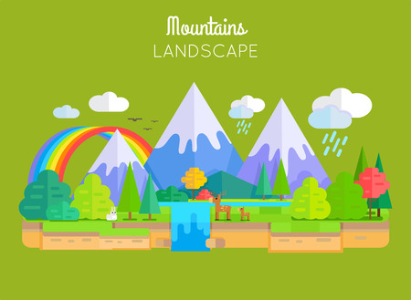 snowcapped landscape: Mountains landscape vector. Flat style. Illustration of nature with snow-capped peaks, animals, trees, waterfall, rainbow, clouds. Banner for environmental, ecological concepts and web page design.