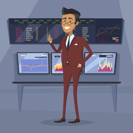 brokerage: Male character in business suit vector. Flat style design. Team leader, boss, expert, successful businessman illustration. Giving good advice concept. Brokerage trading on the stock exchange.