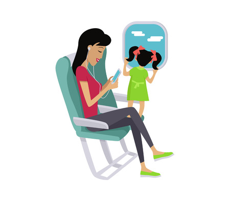 listening to music: Flight travel concept vector. Flat design. Woman listening music while flight with her little daughter. Comfort traveling with child. Illustration for air companies, travel agencies ad.