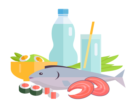 salmon: Group of food vector illustrations. Flat design. Collection of various food and drinks water, salmon fish steak, sushi, salad on white background for menus, signboards illustrating, web design.