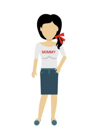 personage: Female character without face in blouse with mommy title vector. Flat design. Woman template personage figure illustration for mother day concepts, fashion app, infographic. Isolated on white.