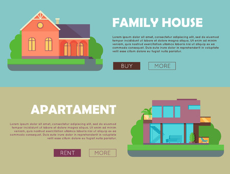 apartment buildings: Family house, apartment advertising flyer poster banner. Ad cover leaflet. Countryside or city architecture. Part of series of modern buildings in flat design style. Real estate concept. Vector Illustration