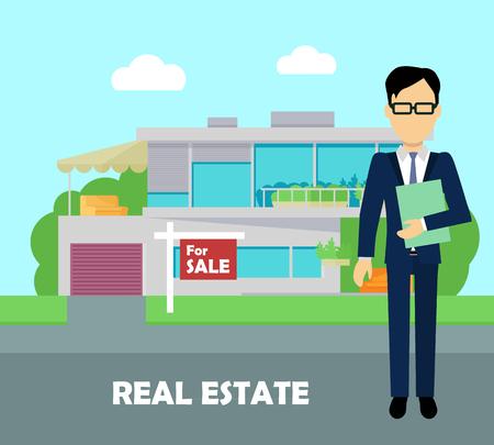 agente comercial: corredor de bienes raíces en el trabajo. Vectores