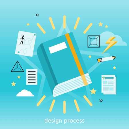 Design process banner flat concept. Process and procedure for the establishment of new creative design. Ready new design. Finished design. Drawing in pencil on sheet paper. illustration