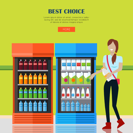 refrigerators: Best choice concept. Smiling woman with in supermarket near showcases refrigerators for cooling drinks in bottles. Woman shopping, supermarket shopping, market shop interior. Website template.
