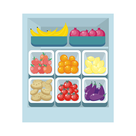 Bananas pomegranates tomatoes oranges lemons potatoes apples and eggfruits in trays isolated. Grocery store assortment, healthy nutrition. Part of series of fruits and vegetables in flat style. Vector