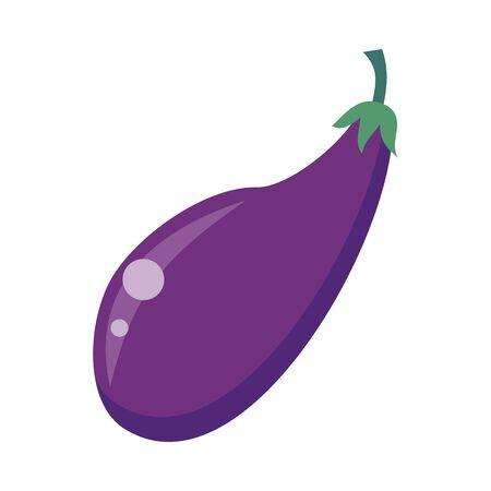 petiole: Ripe purple eggplant. Eggplant icon in flat. Healthy food element. Purple eggplant icon. Vegetable product. Isolated vector illustration on white background.