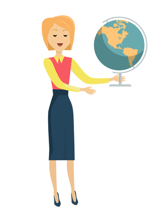 Blonde school teacher in red blouse and blue skirt. Smiling teacher with earth globe in hand. Stand in front. Learning process. Teacher isolated character. School personage. Vector illustration