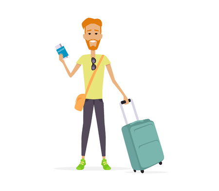 redheaded: Summer vacation concept. Traveling with baggage illustration. Flat style design. Smiling redheaded man with trolley suitcase holding documents. Isolated on white background.