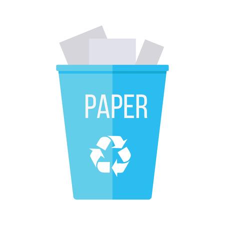 reciclaje de papel: Azul papelera de reciclaje de basura con el papel. Reutilizar o reducir símbolo. El plástico puede reciclar la basura. Icono de papelera en el plano. Reciclaje de residuos. Protección del medio ambiente. Ilustración del vector.