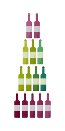 elite: Bottles collection of different types of wine. Check elite vintage strong vine. Winemaking concept. Vine icon or symbol. Part of series of viniculture production and preparation items. Vector