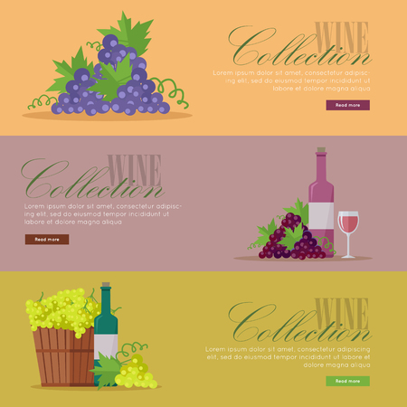 vinification: Set of fliers for elite wine collections.