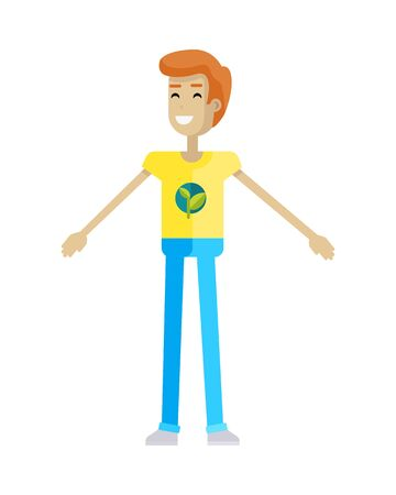 activist: Smiling man with branch and leaves emblem on clothes, standing as part of human chain. Ecologist, environmentalist, nature protection activist or volunteer illustration. Flat design. Earth day.