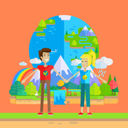 environmentalist: Smiling man and woman holding hands on planet Earth and nature background. Ecologist, environmentalist, nature protection activist or volunteer illustration. Flat design. International earth day.