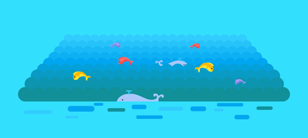 wheal: Sea or ocean vector template. Flat style. Waves on water surface with swimming whales and jumping color fishes. Illustration for summer, nature, ecological concepts, icons, web page design.