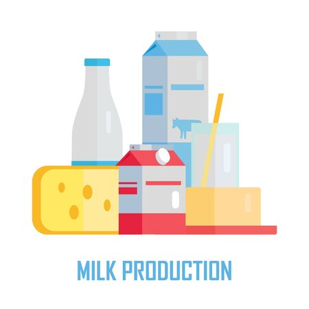 milk production: Milk production concept vector. Flat design. Set of traditional dairy products as milk, cheese, yogurt, butter, sour cream. Illustration