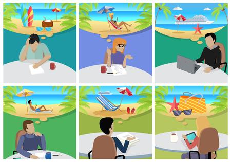mujeres de espalda: Vacaciones soñadas. La mujer y el hombre sentado en la silla con un gadget sobre el descanso y el sueño. Persona en el trabajo. interminable trabajo siete días a la semana. momentos de trabajo. Parte de la serie de trabajo en la oficina. Vector Vectores