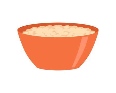 cereal bowl: Bowl with porridge isolated on white. Healthy food concept. Organic natural food. Consumption of high quality nourishment. Part of series of promotion healthy diet and good fit. Vector illustration Illustration
