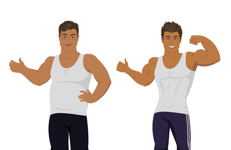 controll: Figure of the man before and after diet. Banner of a person before and after weight loss. Sportive and fat boy isolated. Part of series of promotion healthy diet and good fit. Vector illustration Illustration