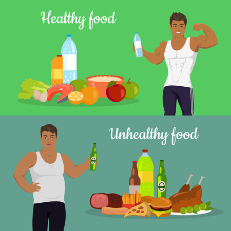 sportive: Healthy and unhealthy food. Figure of the man before and after diet. Weight loss. Sportive and fat boy isolated. Part of series of promotion healthy diet and good fit. Vector illustration
