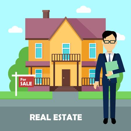 broker: Real estate broker at work. Real estate agent, house building, property home.