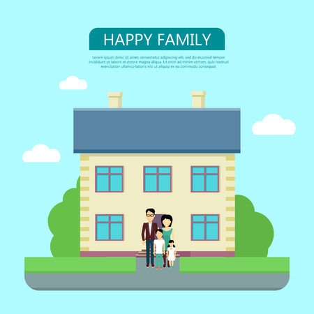 yard sign: Happy family in the yard of their house. Home icon symbol sign. Colorful residential cottage with green bushes. Part of series of modern buildings in flat design style. Real estate concept. Vector