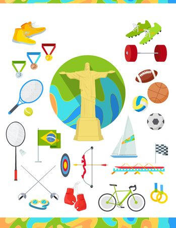pentathlon: Set of icons devoted to summer sport games in Brazil. Gold medal event. Worldwide sport competition in Latin America. Brazilian championship. Rio de Janeiro. Sport equipment and flag. Vector