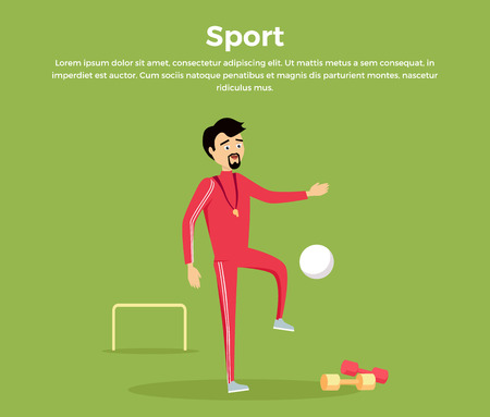 physical education: Sport concept vector. Flat design. Man in sportswear playing with ball in football field. Teacher of physical education. School coach. Illustration for sports section, club, team web page design. Illustration