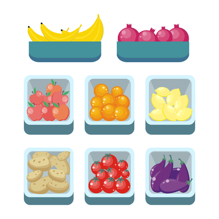 assortment: Bananas pomegranates tomatoes oranges lemons potatoes apples and eggfruits in trays isolated. Grocery store assortment, healthy nutrition. Part of series of fruits and vegetables in flat style. Vector