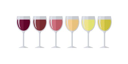 Glasses with different types of wine. Degustation or tasting.