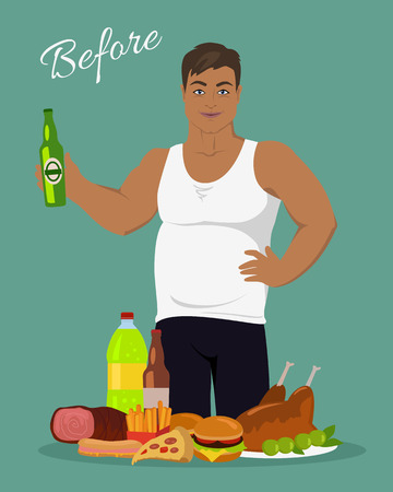 dietary: Man before weight loss. Fat young man near the junk food. Person with big belly prefers tasty, but unhealthy food. Part of series of promotion healthy diet and good fit. Vector illustration