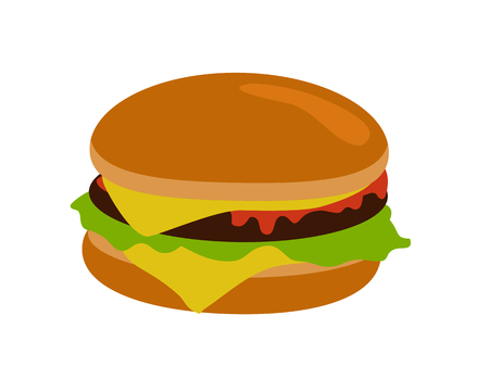 nourishment: Gamburger banner. Hamburger with meat lettuce cheese onion and tomato. Junk food. Consumption of high calories nourishment fast food. Part of series of promotion healthy diet and good fit. Vector