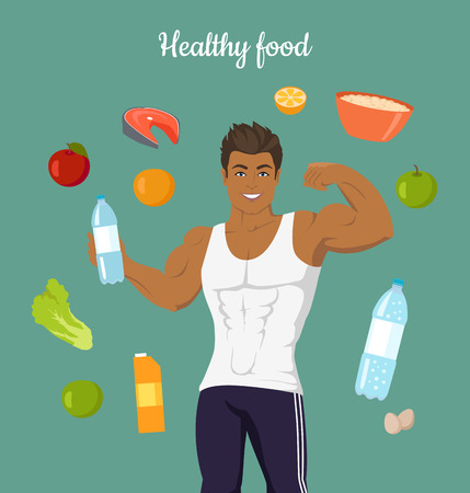 sexy belly: Healthy food concept. Sportive man after diet. Balanced nutrition, consumption of organic food. Fitness and sport, right way of life. Part of series of promotion healthy diet and good fit. Vector Illustration