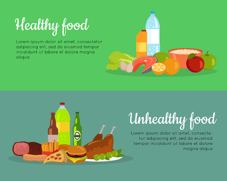 controll: Healthy and unhealthy food banners. Poster with items of diet organic products and unhealthy junk food. Weight loss. Part of series of promotion healthy diet and good fit. Vector illustration Illustration