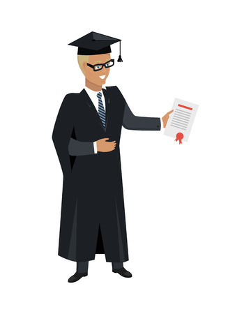 lifelong: Person in mantle gown and academic square cap isolated on white background. Student graduated from university. Magister. Highschool level of education. Part of series of lifelong learning. Vector