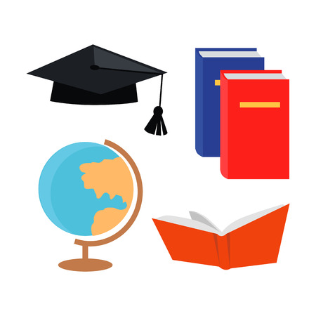 Black squar academic cap, open book, textbook manual and globe isolated on white background. Editable elements for your design. School college university. Part of series of lifelong learning. Vector