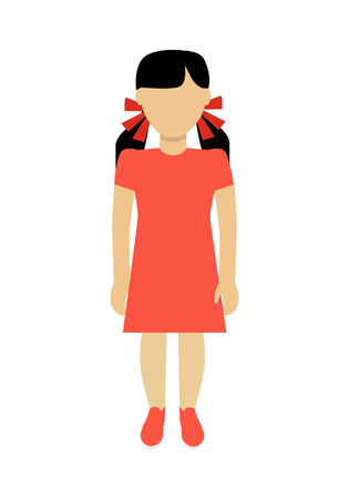 Child character without face in orange dress vector in flat design.