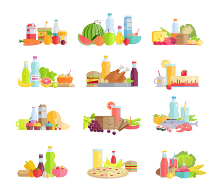 Collection of food concepts. Sets with fruits, vegetables, meat, sweets, beverages, bread, pizza, salads, sandwiches, milk products for farming grocery shop food delivery cafe menu illustrating Banco de Imagens - 62024424