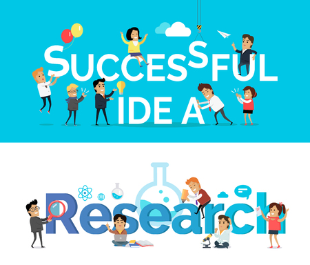 Successful idea and research vector banner. Flat design. Team brain storm, scientist work concept for business planning, scientific Infographics, creative process, market research illustrating.