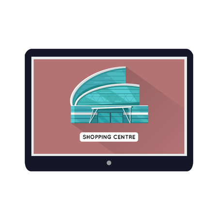 premises: Shopping centre web page template on mobile device. Flat design. Illustration for web design, app icons, online shopping banners. Shop, shopping center, mall, supermarket, business center on screen