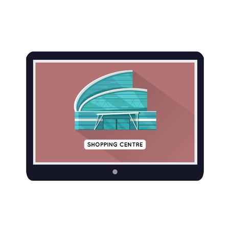 Centre commercial modèle de page Web sur l'appareil mobile. Design plat. Illustration pour la conception web, icônes d'applications, bannières de vente en ligne. Magasins, centre commercial, centre commercial, supermarché, centre d'affaires sur l'écran