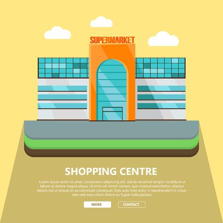 Centrum handlowe szablon strony internetowej. Płaska konstrukcja. Budynek komercyjny ilustracja koncepcja projektowania stron internetowych, banerów. Sklep, centrum handlowe, centrum handlowe, supermarket, centrum biznesu na żółtym tle. Ilustracje wektorowe
